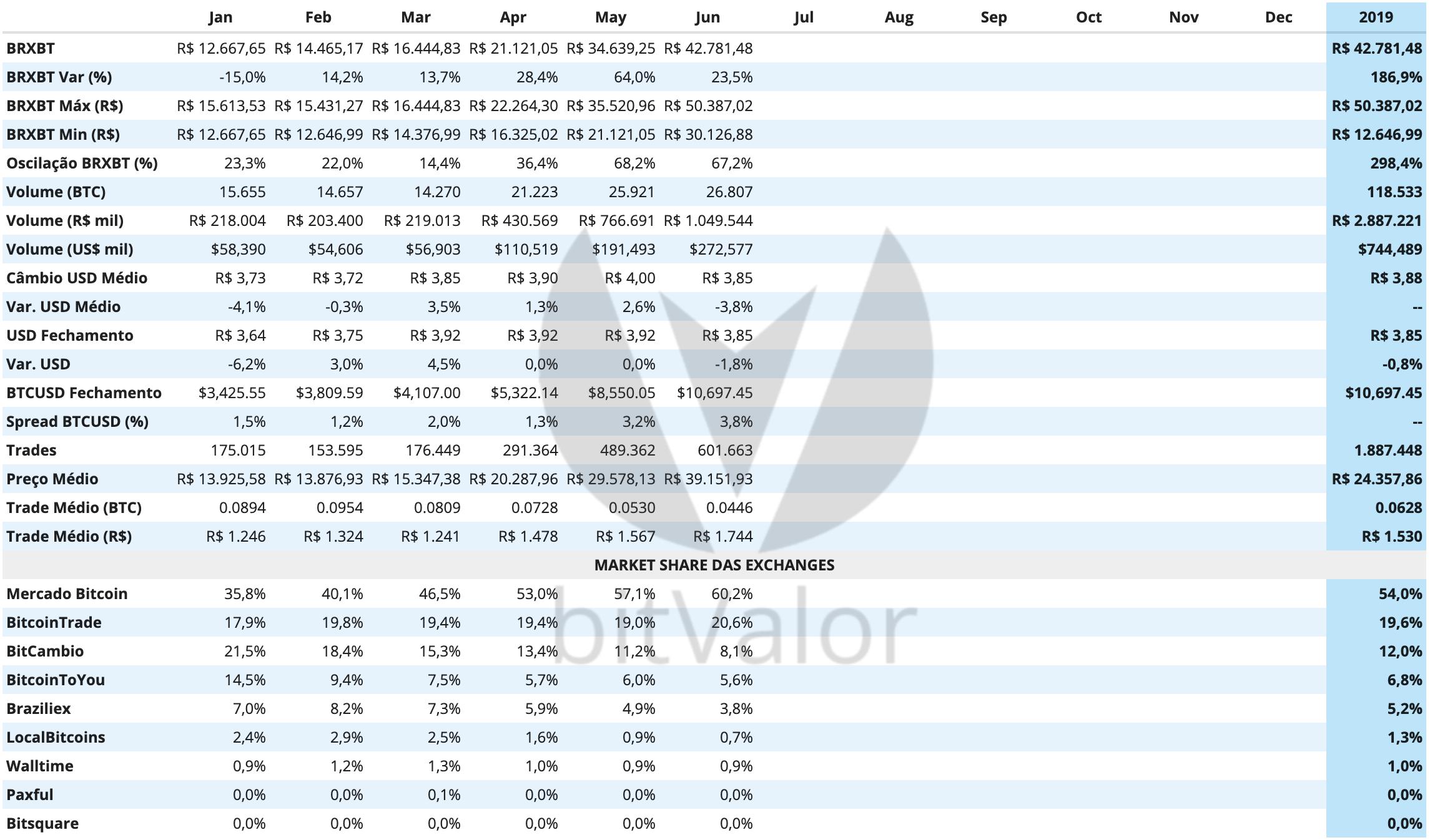 Historico Mercado Brasileiro de Bitcoins Junho 2019